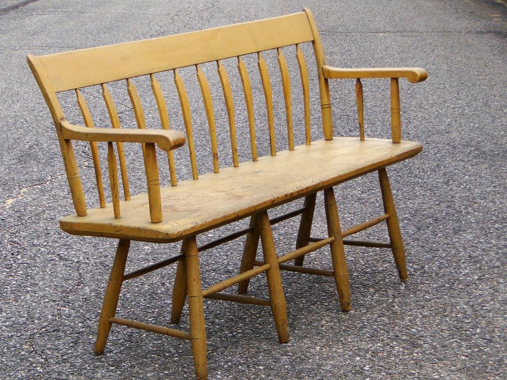 Lot 111: RARE SMALL YELLOW PAINTED ARROWBACK SETTEE
