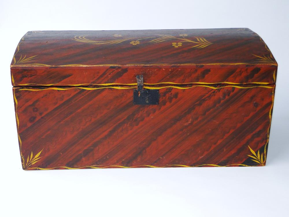Lot 112: 18TH C DECORATED DOME TOP BOX