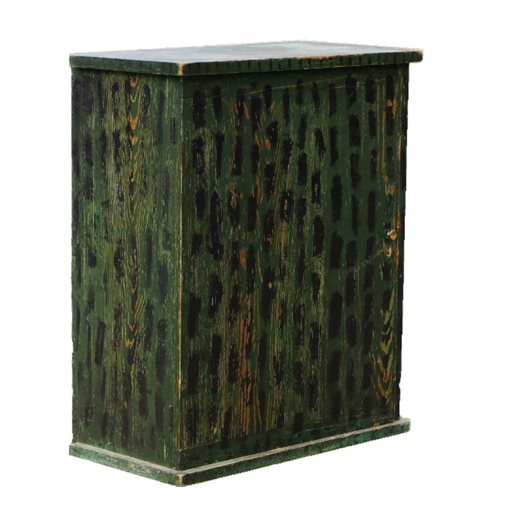 Lot 113: C. 1820 PAINT DECORATED WALL CUPBOARD