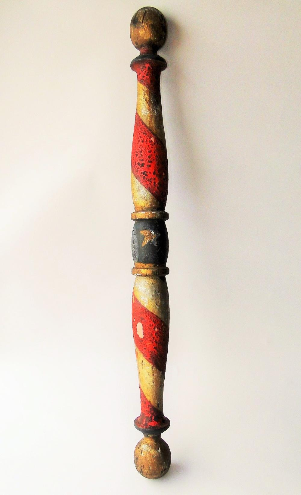 Lot 116: 19TH C PAINTED BARBER POLE