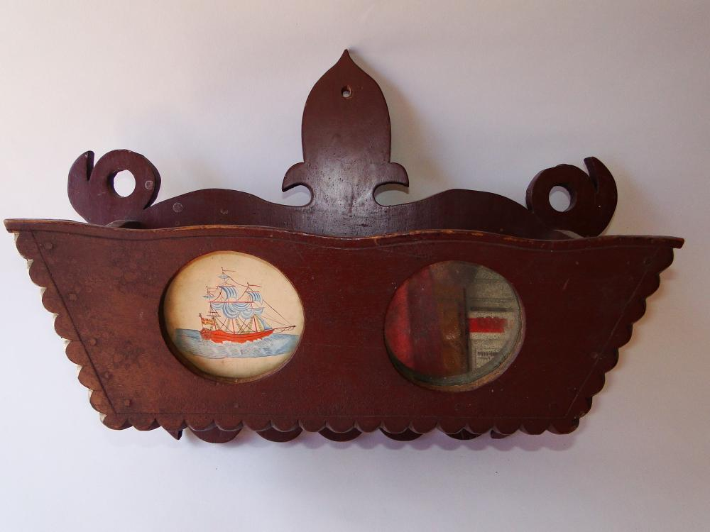 Lot 119: 19TH C WALL BOX WITH SHIP AND MIRROR