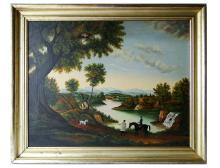 Lot 130: 19TH C O/C PAINTING CONNECTICUT RIVER VALLEY