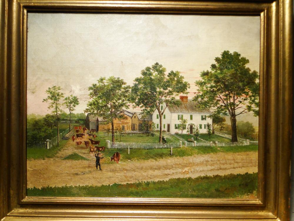 Lot 131: RARE O/C BUSH HOMESTEAD WESTFIELD, MA.