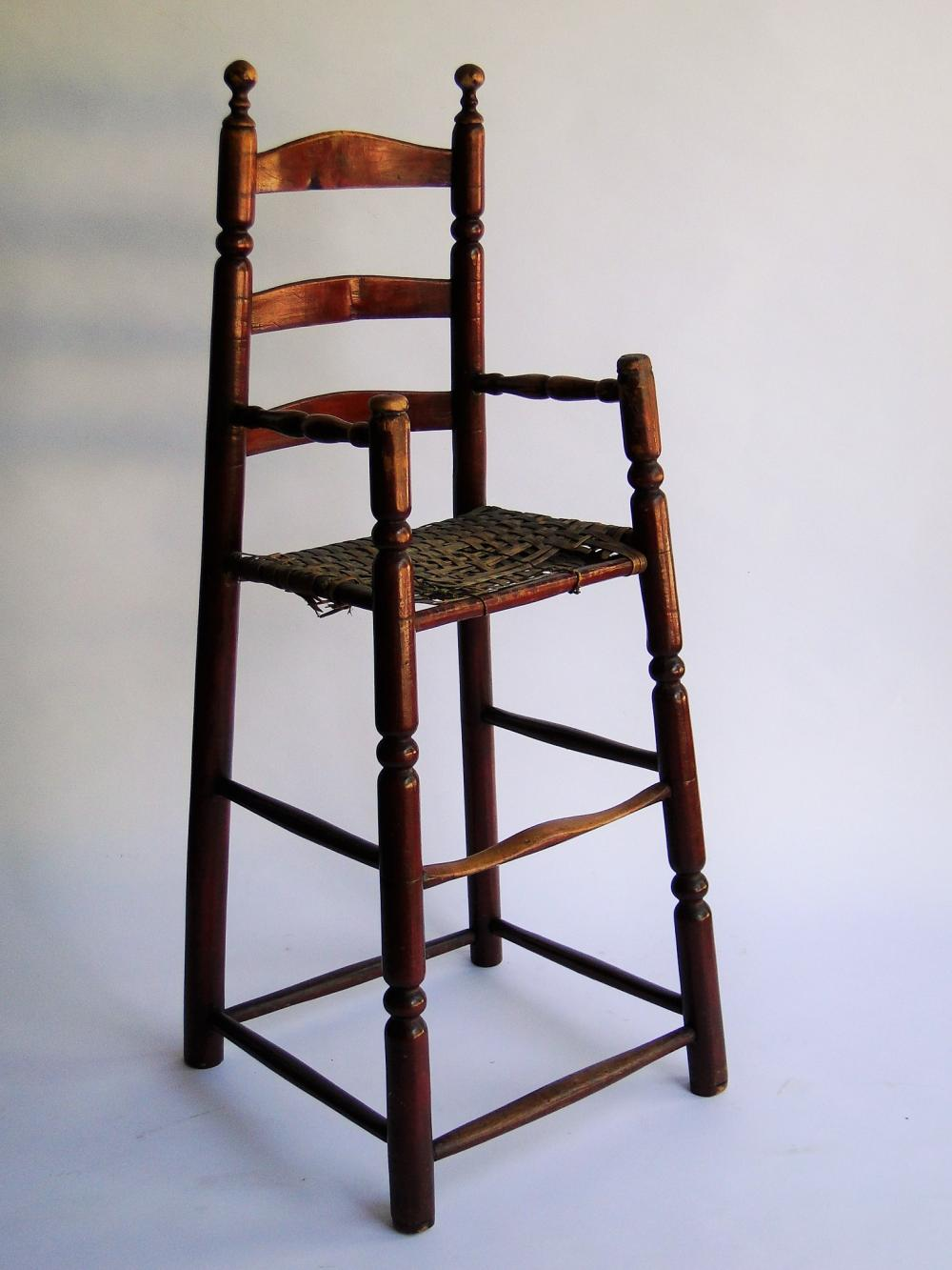 18TH C RED PAINTED CHILD'S HIGH CHAIR