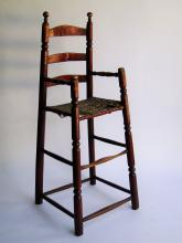 Lot 137: 18TH C RED PAINTED CHILD'S HIGH CHAIR