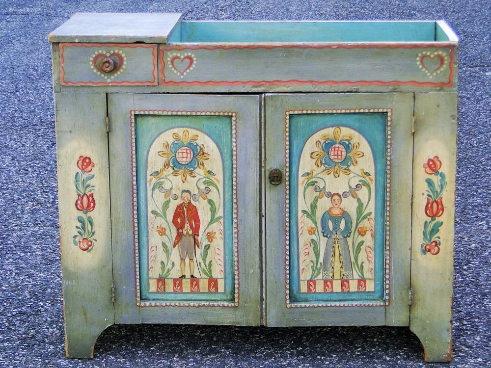 19TH C PA DECORATED DRY SINK