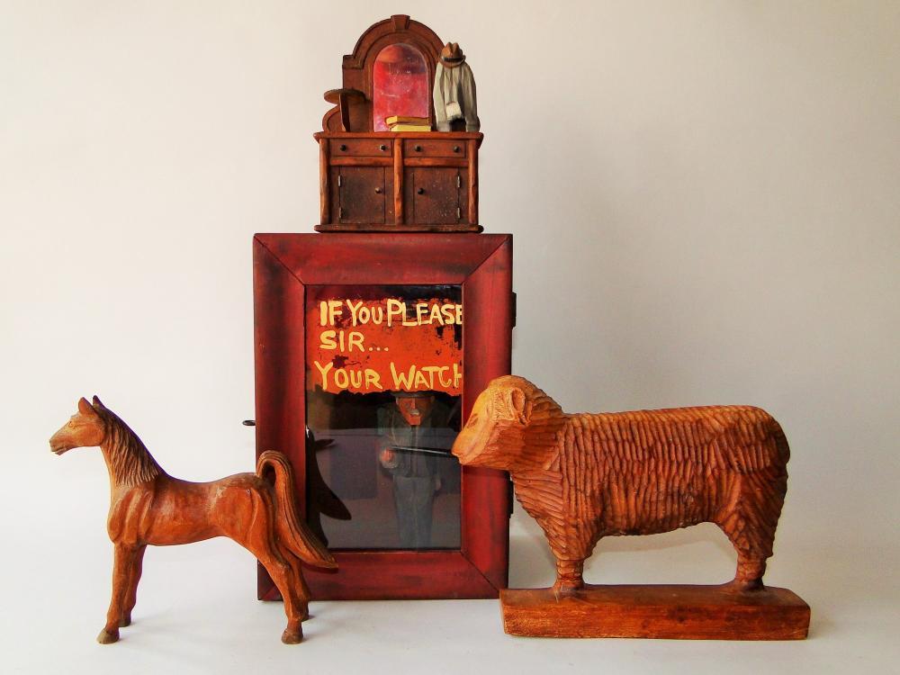 FOLK ART LOT, WATCH HUTCH, CARVED ANIMALS