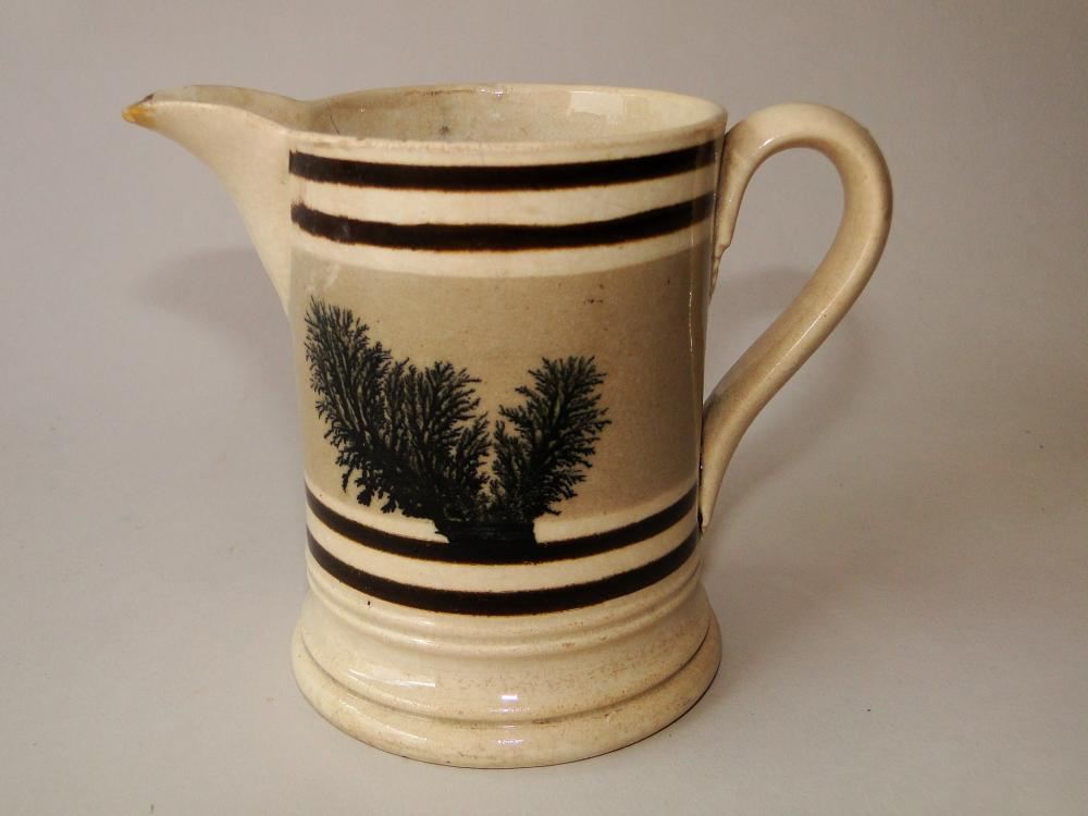 Lot 143: C 1820 MOCHAWARE SEAWEED PITCHER