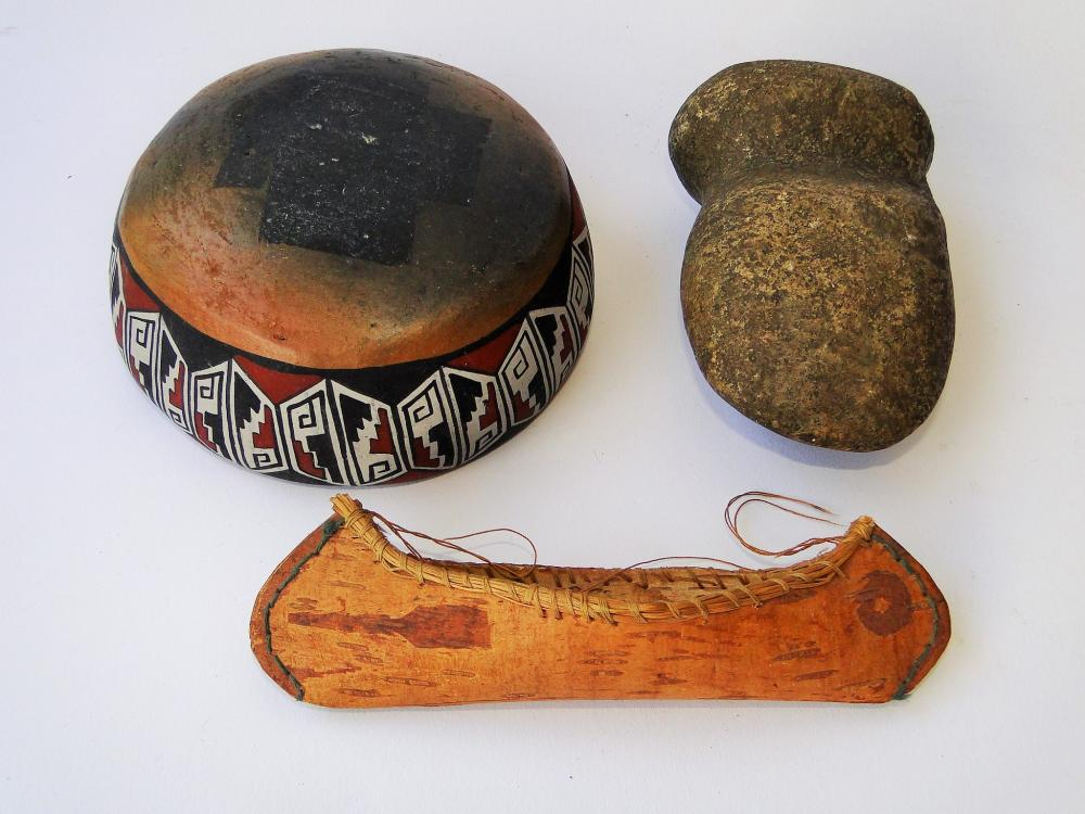 Lot 51: NATIVE AMERICAN LOT BOWL, AX, CANOE