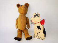 Lot 52: ANTIQUE TEDDY BEAR, DOG BOOKEND