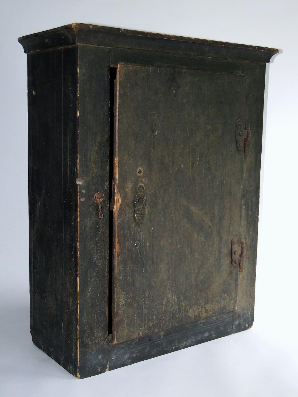 18TH C BLUE PAINTED HANGING CUPBOARD