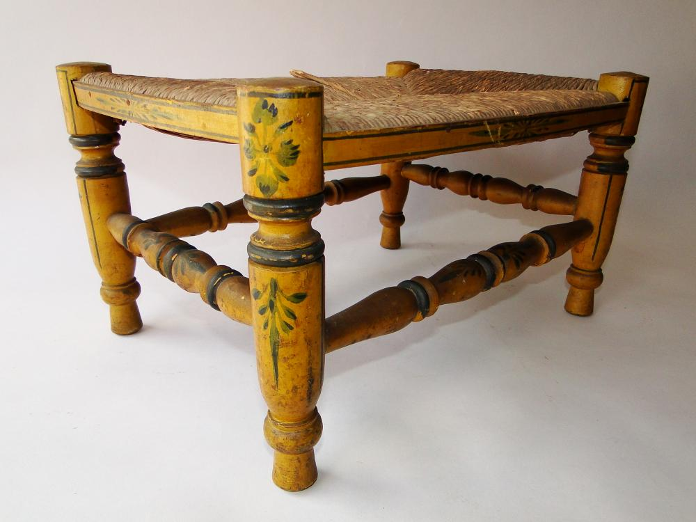 19TH C PAINTED  DECORATED FOOT STOOL