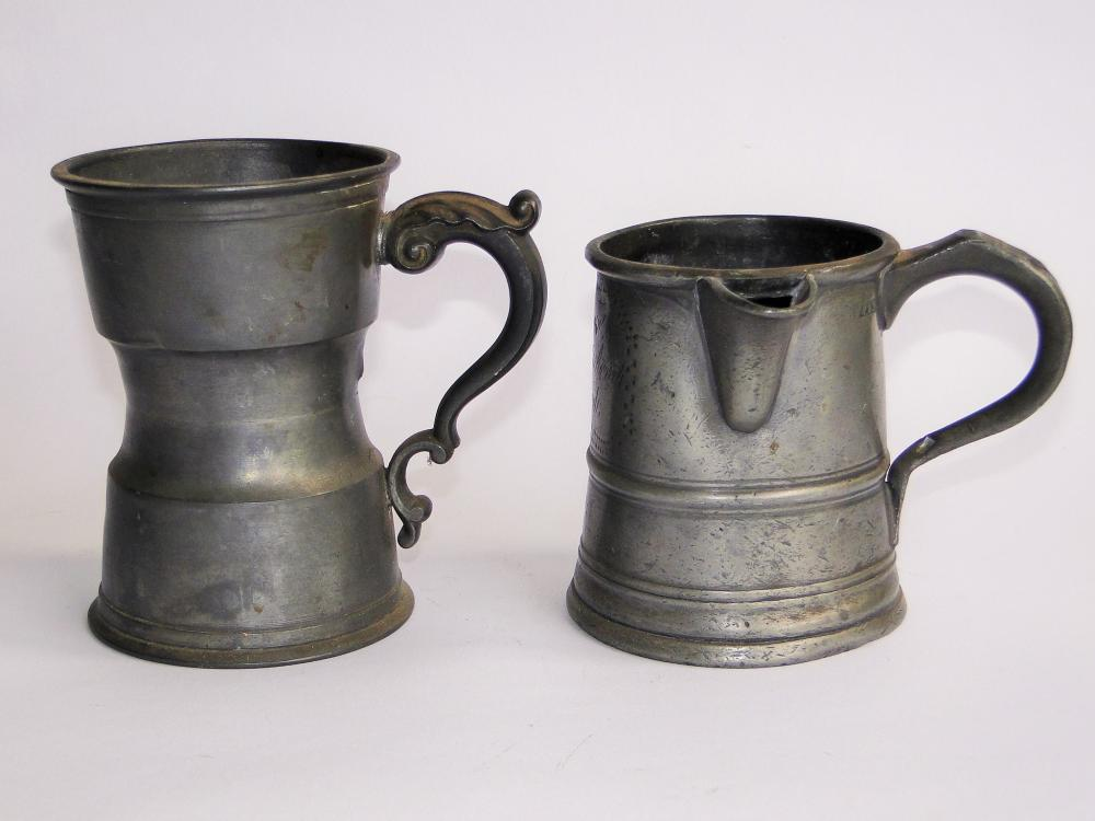 TWO 18TH C PEWTER MEASURES