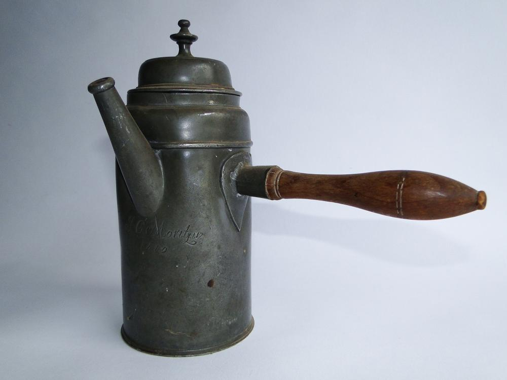 Lot 70G: 18TH C PEWTER WOOD HANDLED POT