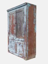 Lot 80E: 19TH C PANTRY CUPBOARD FOUR DOOR