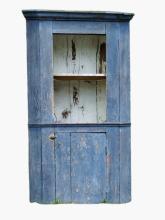 Lot 80F: 19TH C DIMINUTIVE BLUE CORNER CUPBOARD
