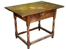 Lot 80H: 19TH C ONE DRAWER TAVERN TABLE