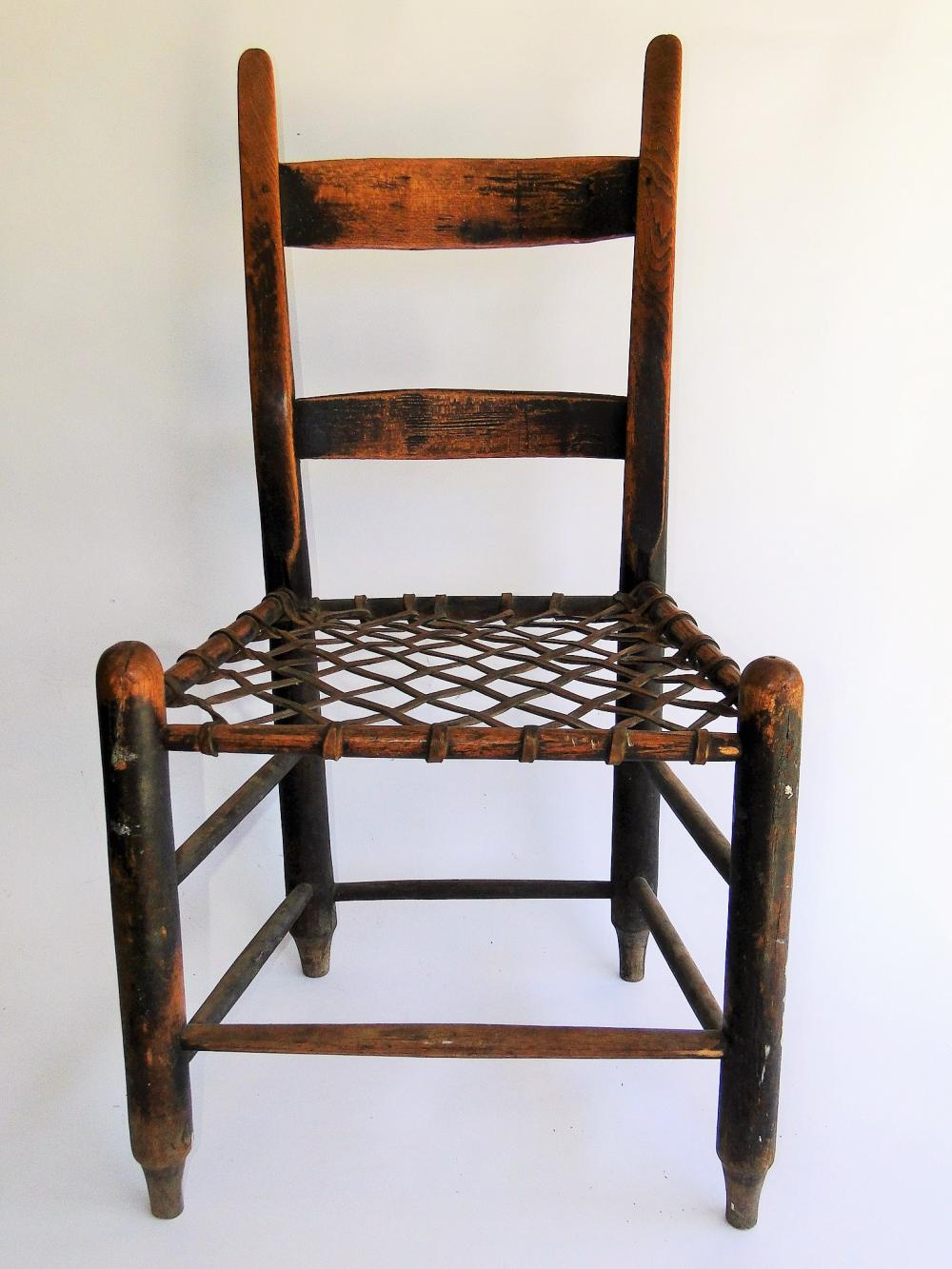 Lot 80I: EARLY CHAIR WITH RAW HIDE SEAT