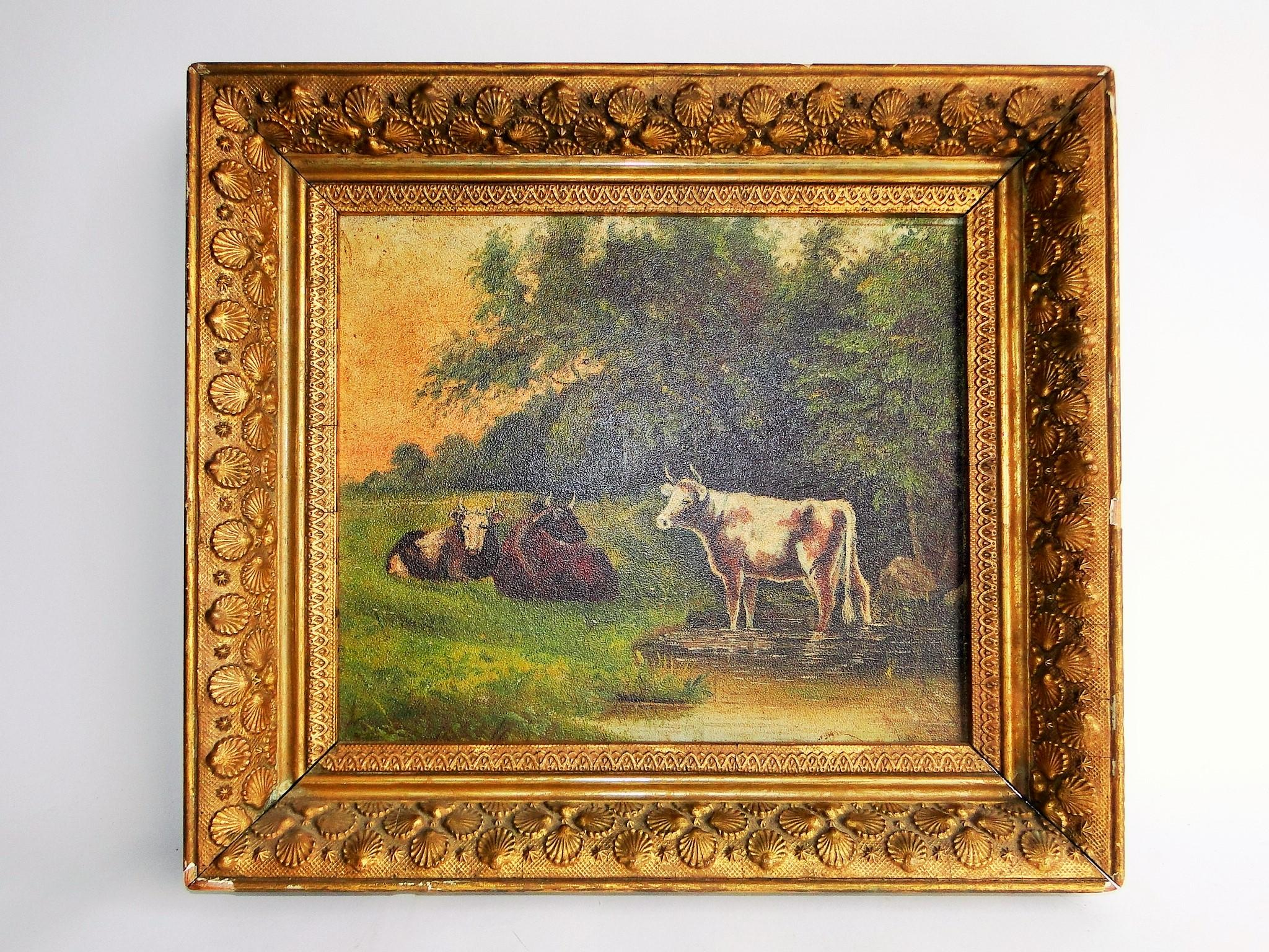 19TH C PRIMITIVE PAINTING OF COWS