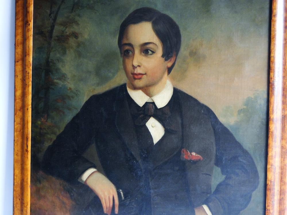 19TH C PORTRAIT PAINTING OF A BOY