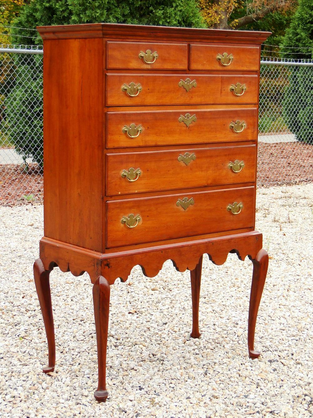 18TH C QUEEN ANNE CHERRY CHEST ON FRAME