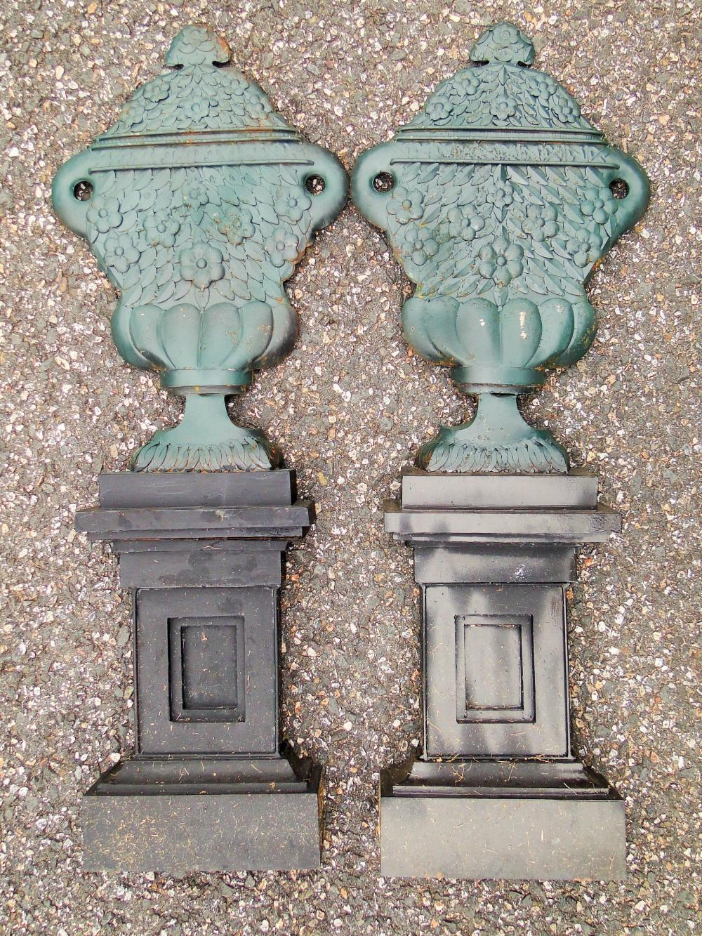PAIR 19TH C PAINTED SHEET IRON URNS