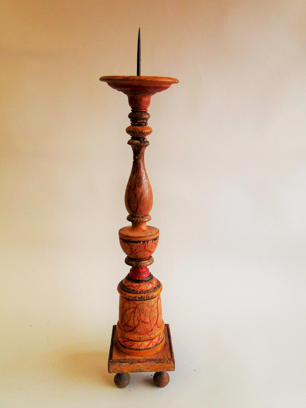 TALL PAINT DECORATED CANDLE PRICKET