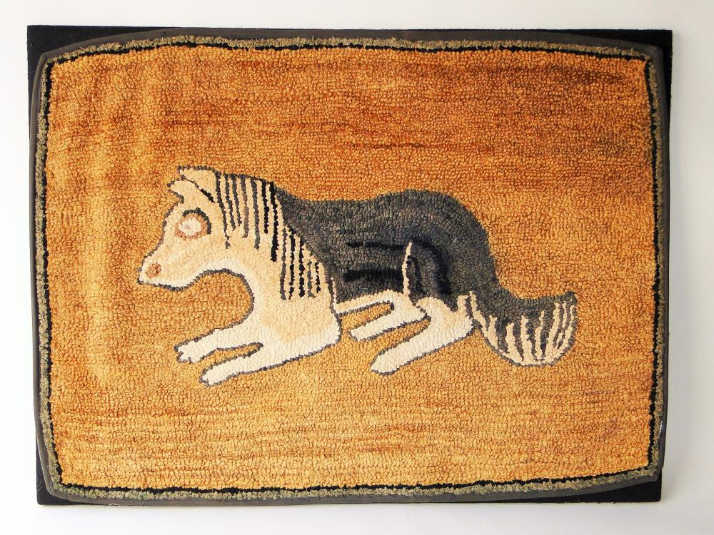 19TH C FOLK ART HOOKED RUG OF A DOG