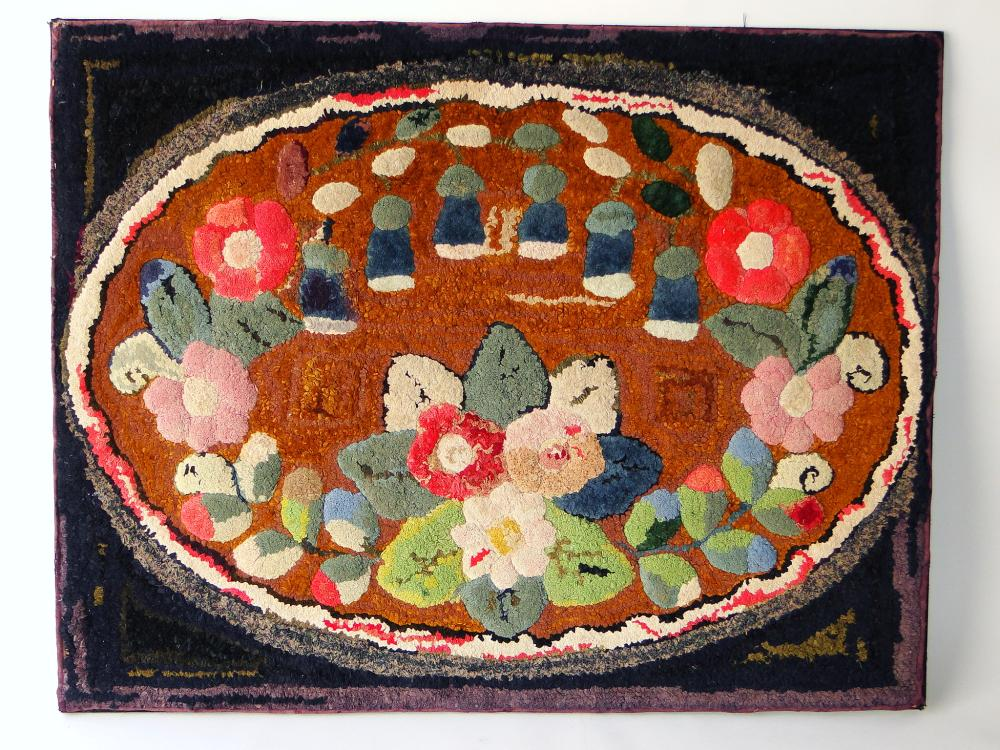 19TH C FOLK ART HOOKED RUG FRUIT AND FLORAL