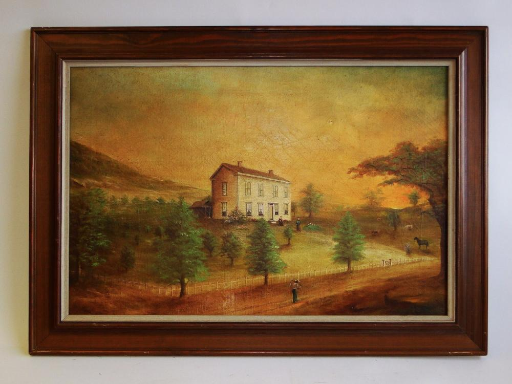 19TH C PRIMITIVE HOMESTEAD PAINTING