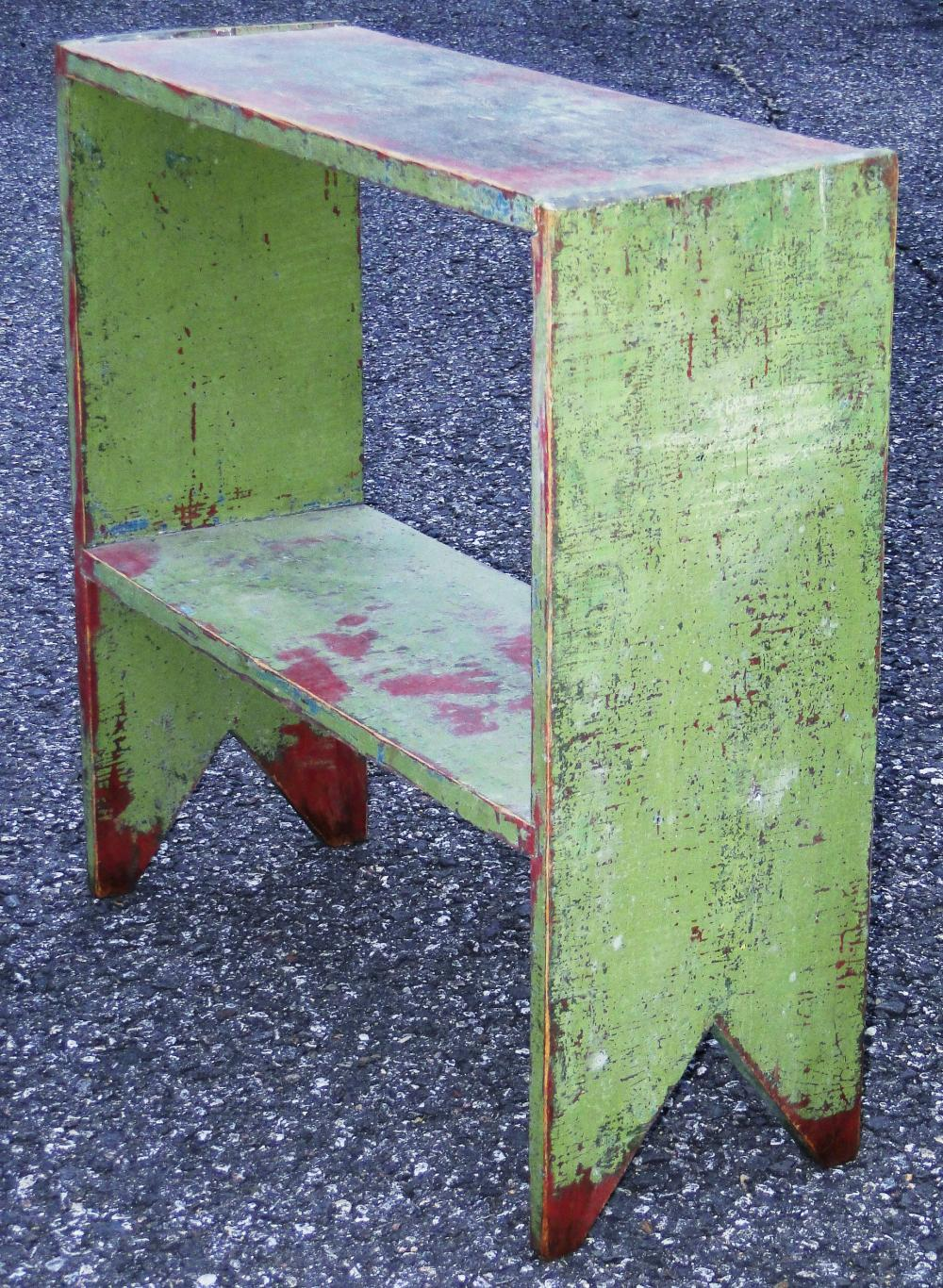 19TH C PAINTED BUCKET BENCH