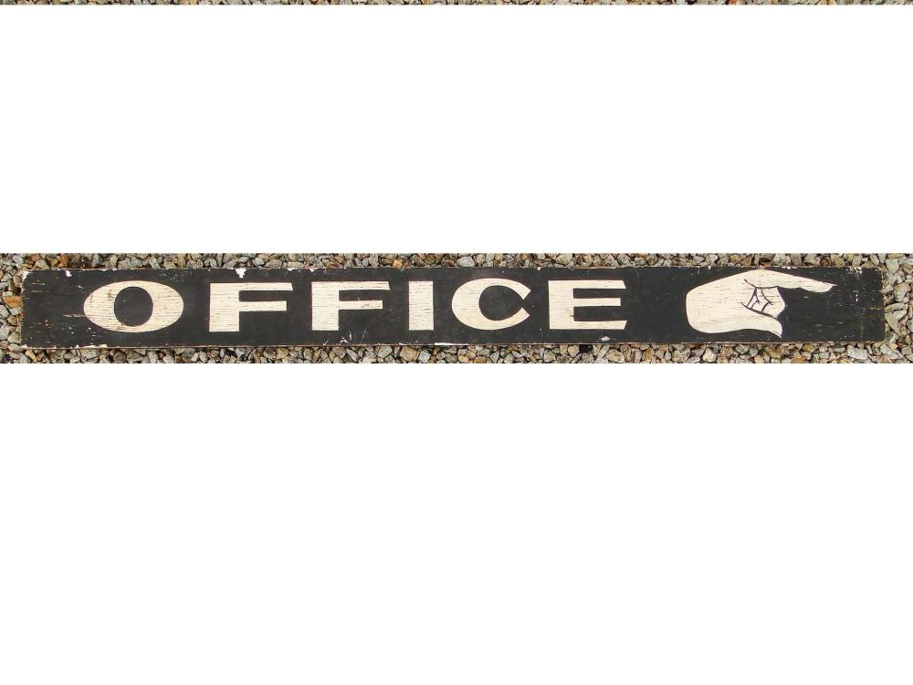 19TH C OFFICE SIGN W/ POINTING HAND