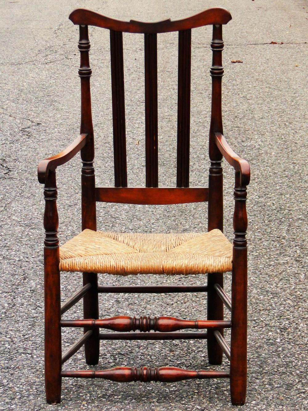 18TH C BANISTER BACK ARM CHAIR