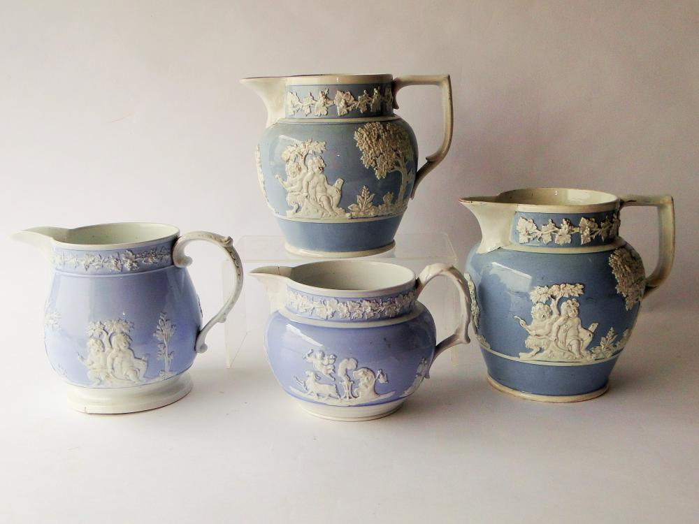 SET FOUR STAFFORDSHIRE PEARLWARE PITCHERS