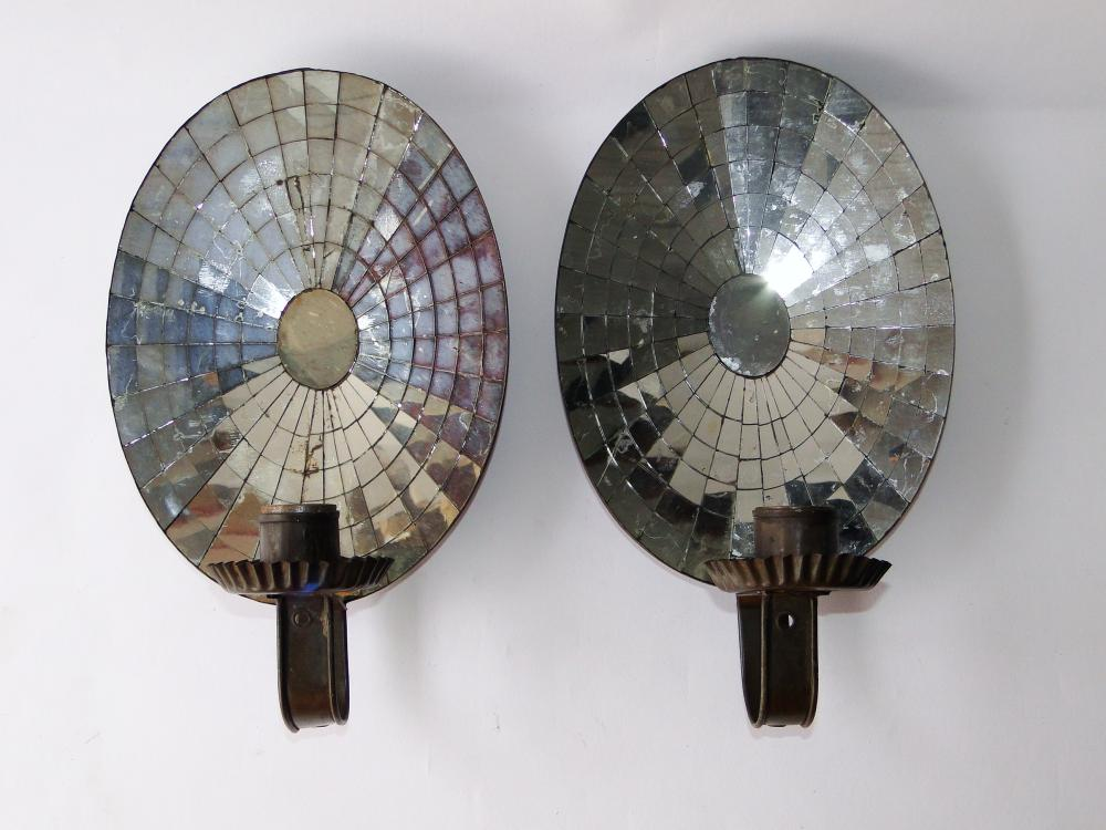 PAIR 19TH C MIRRORED BACK TIN SCONCES