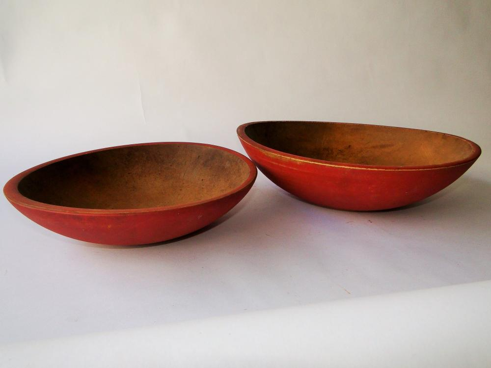 PAIR NESTED PAINTED WOODEN BOWLS