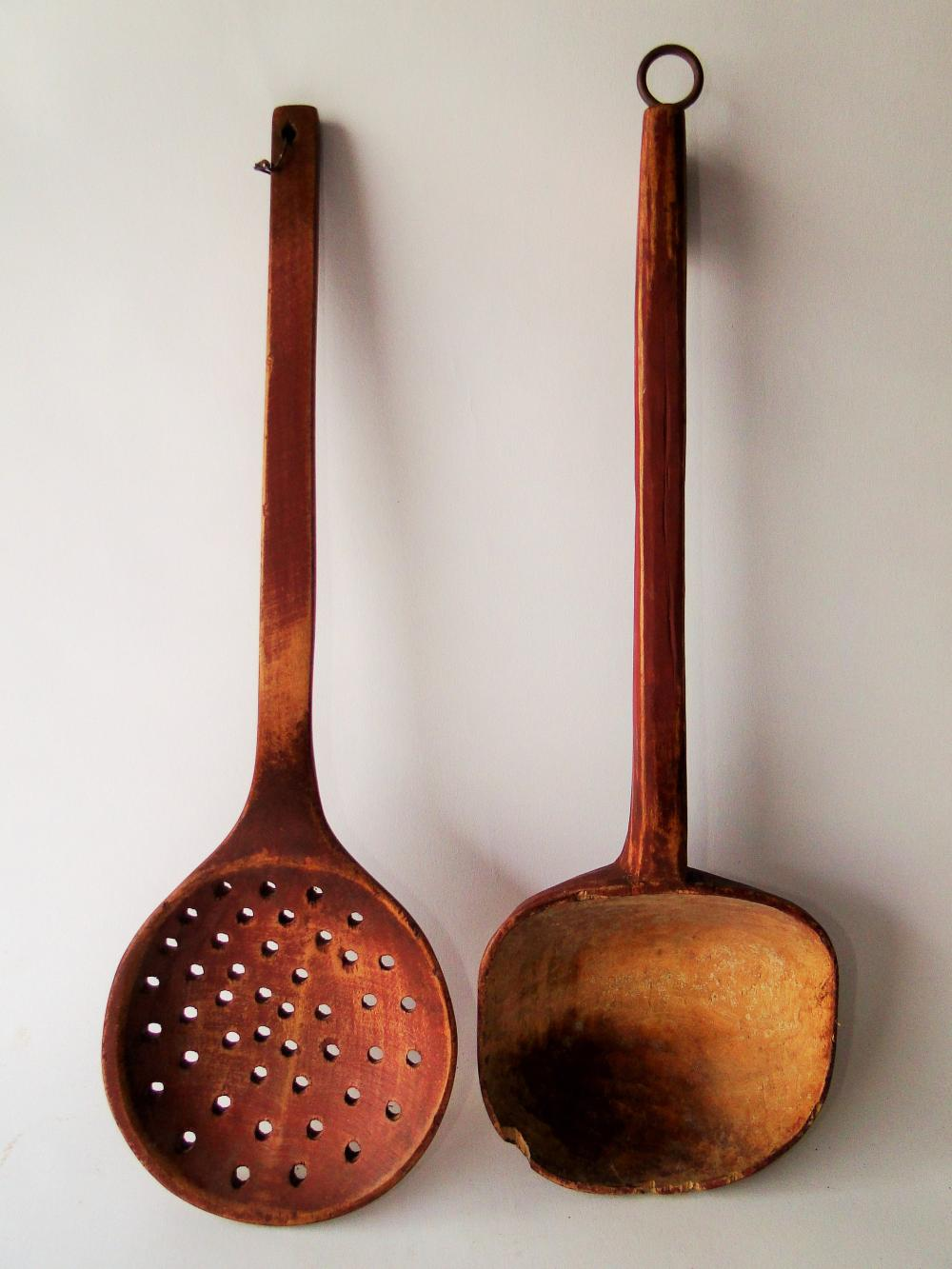 LARGE PAINTED WOODEN STRAINER , LADLE