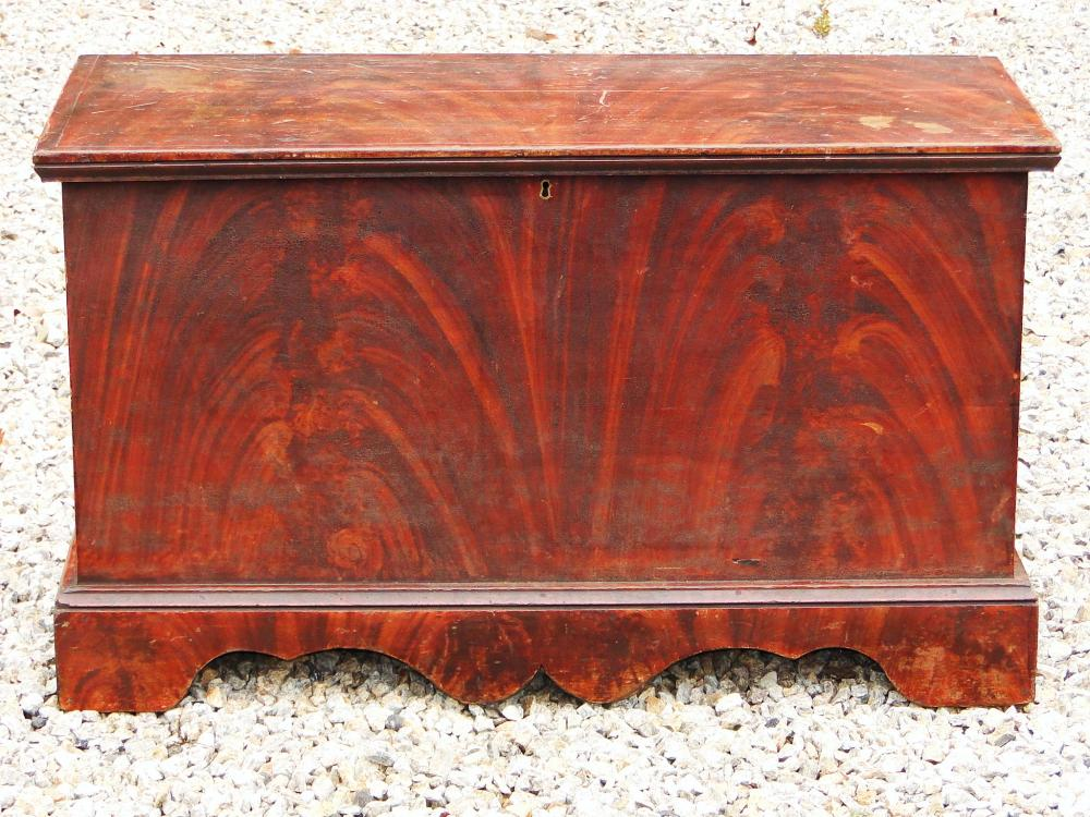 18TH C PAINT DECORATED BLANKET CHEST