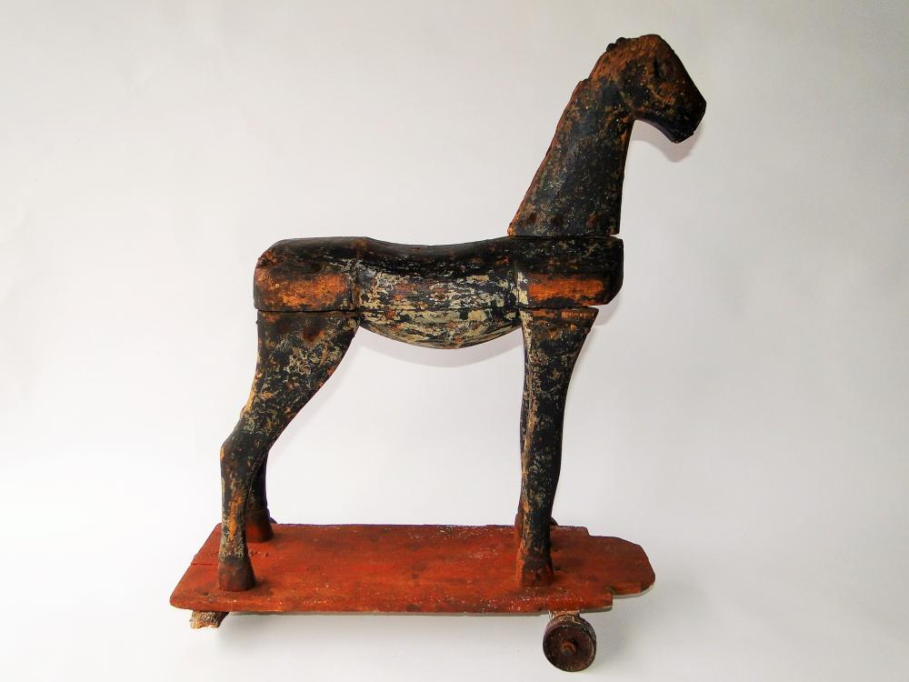 19TH C HORSE PULL TOY