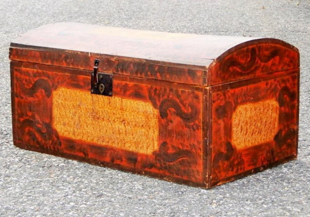 19TH C DECORATED DOME TOP CHEST