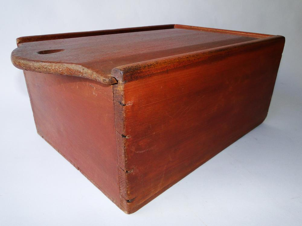 LARGE 19TH C RED SLIDE LID CANDLE BOX