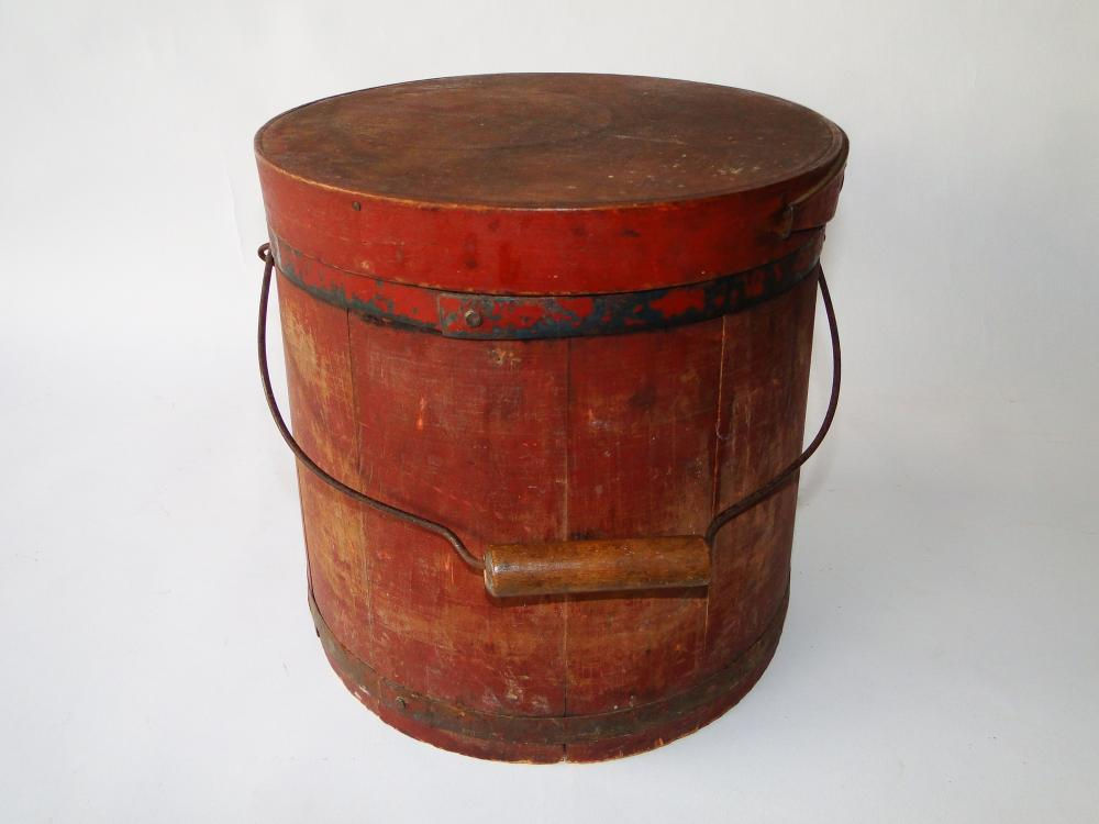 19TH C RED PAINTED FIRKIN