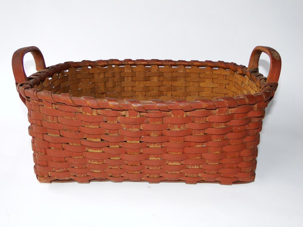 19TH C TWO HANDLED RED BASKET