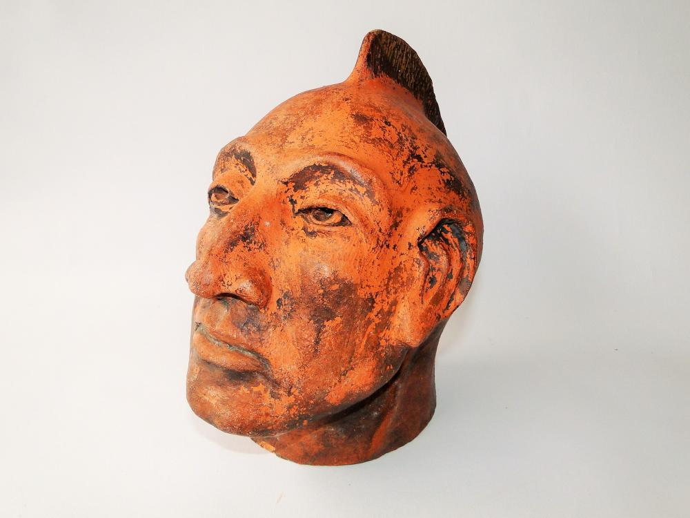 19TH C REDWARE NATIVE AMERICAN BUST