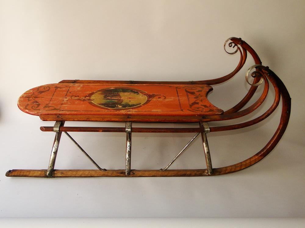 19TH C SALMON PAINTED SLED