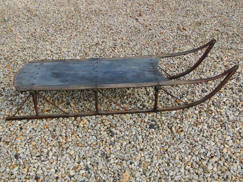 19TH C BLUE PAINTED SLED