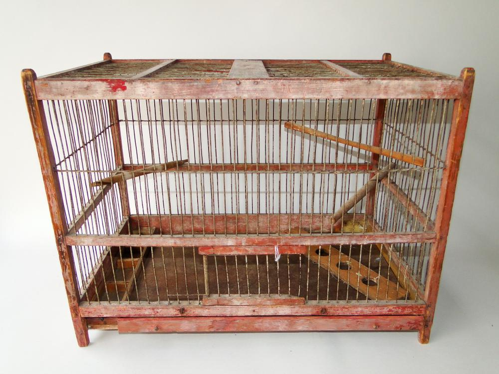19TH C PAINTED BIRD CAGE