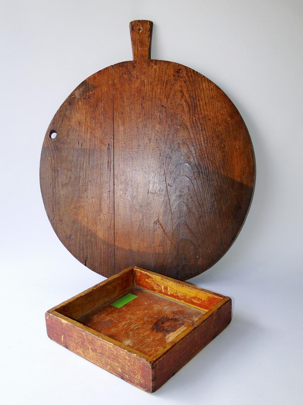 19TH C BREAD BOARD, PAINTED APPLE BOX