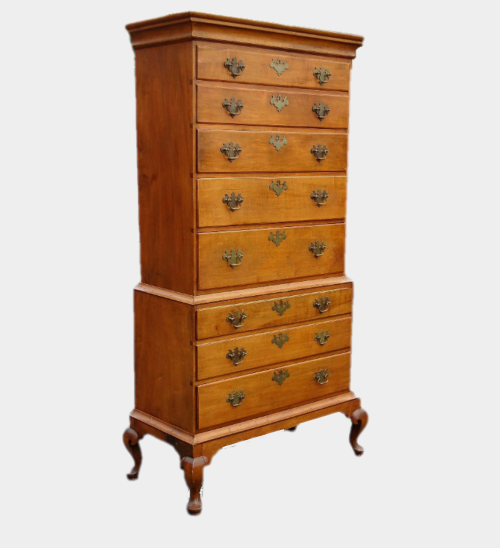 18TH C QUEEN ANNE CHEST ON CHEST
