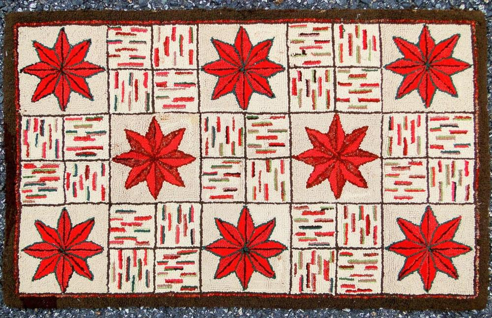 19TH C HOOKED RUG STAR DESIGN